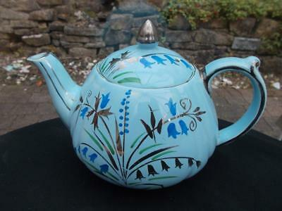 Pretty Eggshell Blue Sadler Teapot Hand Painted Bluebells In Lovely Condition