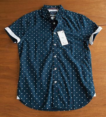 897a84bf45 NWT Denim   Flower Ricky Singh Men s S Navy Red   White Stars Button Down  Shirt