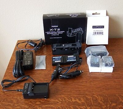 Fujifilm X-T2  VPB-XT2 battery grip with 4 batteries; 3 home and car chargers