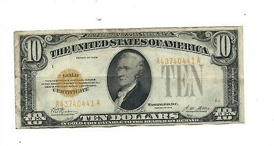 "1928 - Ten Dollar ($10.00) -GOLD CERTIFICATE - Serial #A43740441 A -""Very Fine+"""