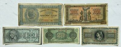 GREECE BANKNOTES LOT of (5) - 1941, 1942, 1944 - 1000, 5000, 500, 25 - Drachmai