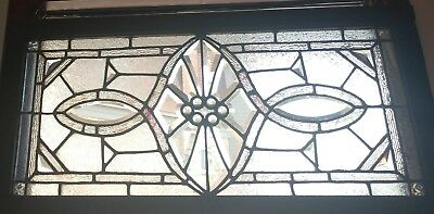 Antique c1900 Art Nouveau Leaded Beveled Transom Window Restored