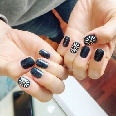Japanese Black Style 24 Pcs Set Cartoon Nail Tips Completed Fake Nails #