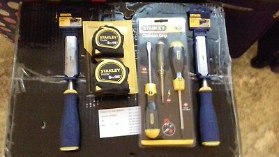 Tool Bundle Stanley Tylon Tape Measures TWIN Pack 5m+ 8m Chisels Screwdrivers