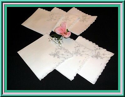 Fabulous Set Of 6 Madeira Embroidered Linen Napkins With Butterfly Design