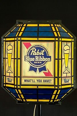 Vintage 1986 Pabst Blue Ribbon Beer Stain Glass Look Light Up Sign