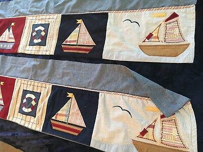 "2 'Kids Line' BOATS Appliqué Chambray & Cordoroy 56""x18"" Valance Salilboats"