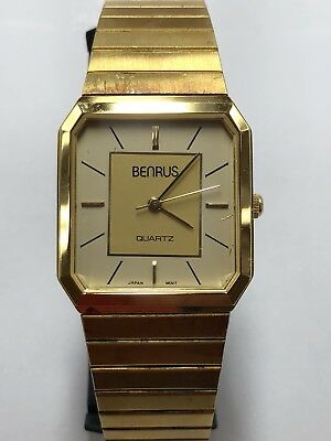 Vintage Benrus Mens Watch Quartz Gold Tone Two-Tone Dial Working