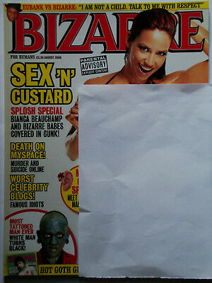 Bizarre Magazine 113 Custard Splosh Most Tattooed Man Goth Girls August 2006 Vg+