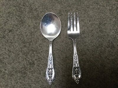 Wallace 1934 ROSE POINT STERLING 2 Piece Spoon Fork Baby Set