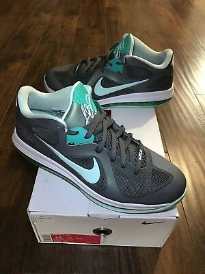 3fb9eb833af NIKE LEBRON 9 Mens Size 11 Basketball Shoes Mint Easter Green Gray ...