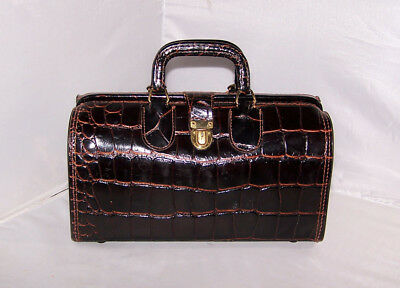 Vintage Upjohn Leather Croc Embossed Doctor Bag with Key and Rx Card