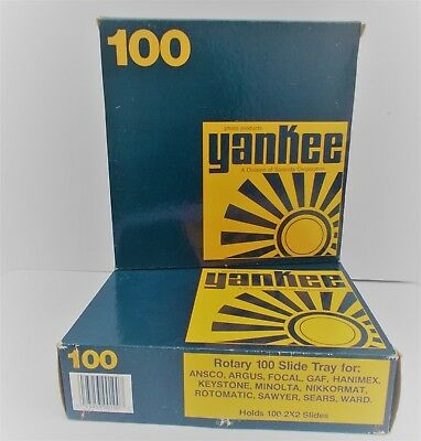 """Lot of 2 Vintage Yankee S - 100 Rotary Slide Trays Each Holds 100 2""""x2"""" Slides"""
