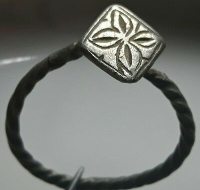 Byzantine Silver Ring Cross * Rhombus Top * Twisted Wire