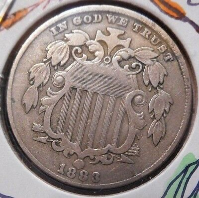 1883 5c SHIELD NICKEL ~ dYNaMiC ObVeRSe & ReVeRSe SuRfaCeS With StuNNiNG detaiL!