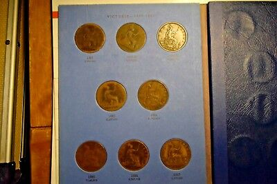 """Great Britain Penny Sets ( 4)  Whitman Folders """" Total 119 Coins """""""