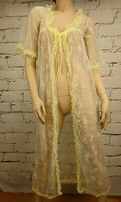 Vintage Negligee Robe Lingerie Sheer Floral Ruffle Yellow Trim Size S Ruby