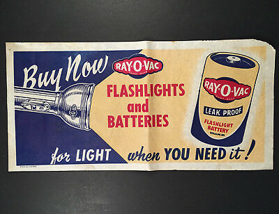 c.1949 RAY-O-VAC LEAK PROOF FLASHLIGHT BATTERY Window/Wall Advertising Sign