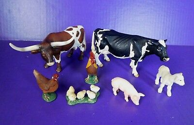 Lot 7 Schleich Barnyard Farm Animals Toy Play