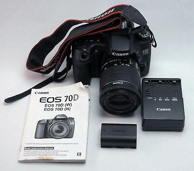 Canon EOS 70D (W) WiFi Digital SLR Camera with 18-55MM Lens Low Shutter Count