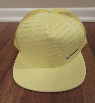 5e6eed31118f6 Supreme Repeat Mesh Back 5-Panel Snapback Hat Cap Yellow SS18H49 SS18 New  NWT DS