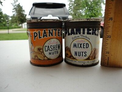 """2 Vintage Planters Peanuts 3"""" Tins Salted Cashews and Mixed Nuts 1944 Cans"""