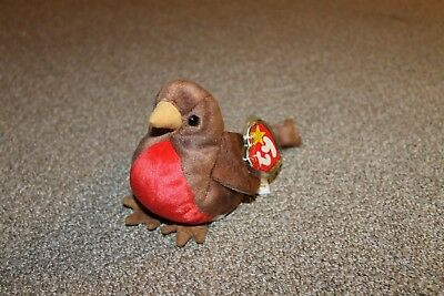 TY Beanie Baby Early the robin - REITRED - MTMW w/errors