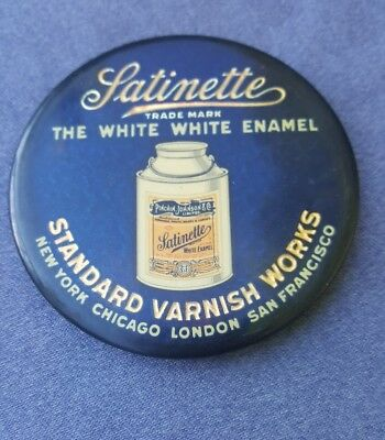 Old Celluloid Advertising Pocket Mirror Satinette Enamel Paint Standard Varnish