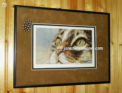 ART PAINTING PRINT Calico Tiger Cat Eyes, fully framed & matted, w/ feather