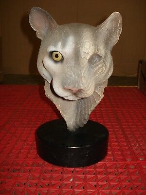 "Rick Cain 1994 L.E. ""Spirit of the Mountain"" Cougar Head Wood Carved Sculpture"