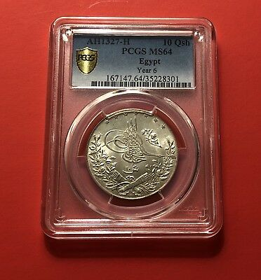 Egypt -Ah 1327-H Silver Coin (10 Qirsh ,graded By Pcgs Ms 64.rare Grading .