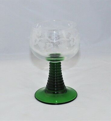 Vintage Roemer Green Luminarc Wine Glass By CRISTAL D'ARQUES DURAND - France