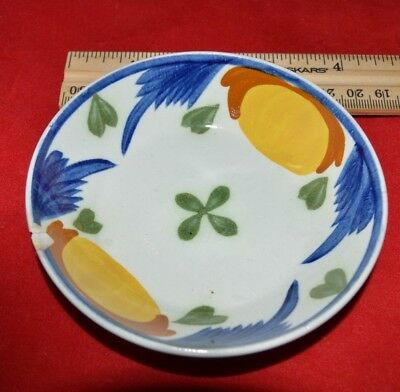 Pearlware Leeds Bowl Saucer - 4 color decoration - 4 inch diameter - 1 inch tall