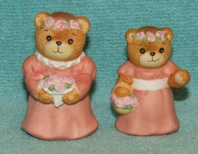 2 Vintage Lucy & Me Bear Figurines, Flower Girls