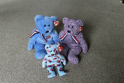 TY Beanie Baby - AMERICAN Collection 4 BEARS - America, USA, Union - MWMT