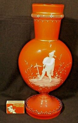 C.1900 Antique Pink Cased Glass Bagpiper Mary Gregory Enamelled 31 Cm Vase