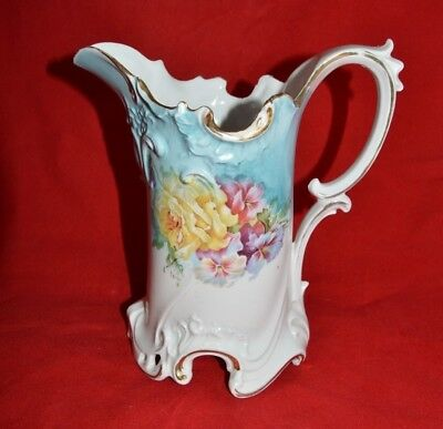 Vintage Ornate Porcelain Unmarked R S Prussia Floral Pitcher -  8 in tall - 65
