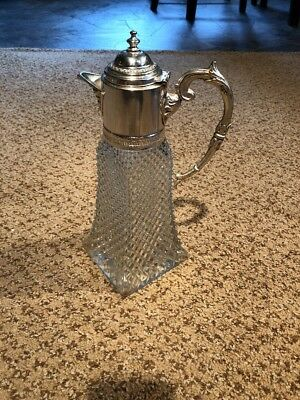 Antique Diamond Cut Glass Pitcher With Silver Plated Handle And Pourer Italy