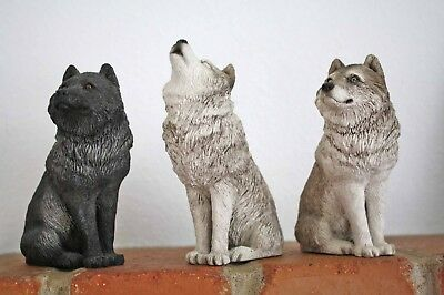 3 Wolf Figurines By 1995 Sandicast - Made In The Usa - Two Gray, One Black