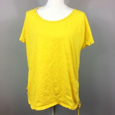Lot Of Two Lane Bryant Solid Yellow Short Sleeve Top Womens Size 14 Cotton Slub