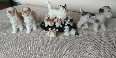 """Lot of 3 Vintage 1950s Japan Porcelain Small Puppy Dog Figurines 1 1/2"""" Tall"""