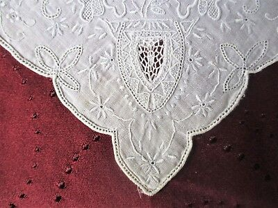 Lovely Antique White  Lace  Wedding Handkerchief Finely embroidered w Open Work