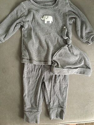 Carters Baby Infant Striped Outfit Set Of 3 Bottom Top Hat 3 M