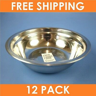 12 x STAINLESS STEEL MIXING BOWLS 190mm | Baking Cooking Preparation Salad Bowl