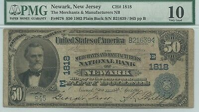 $50 1902 Newark, NJ National Bank Note -- Affordable Large Fifty!