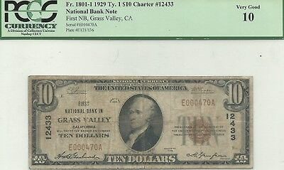 $10 1929 Grass Valley, California National Bank Note -- Great Name, Tough Note!