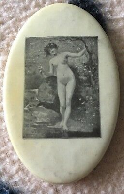 NUDE LADY Nature Photo Risqué Naughty Celluloid Vintage Pocket Mirror