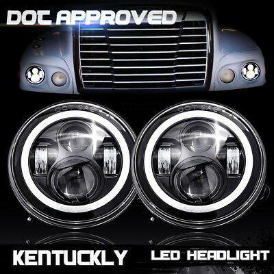 Pair Freightliner Century Light 7inch LED Projector Headlight For Pre 2005 Model