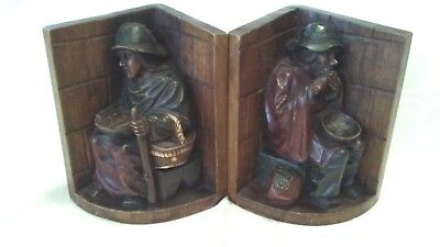 Hand Carved Wood Bookends, German Black Forest Style, Two Street Figures