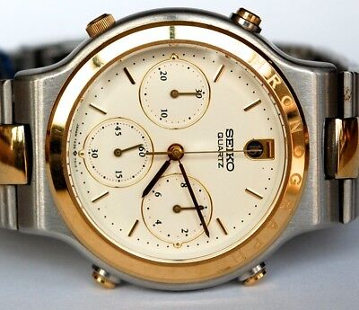 Vintage Mens Seiko New Old Stock W/box &tag 7A34 7010 Alarm Chronograph Two Tone